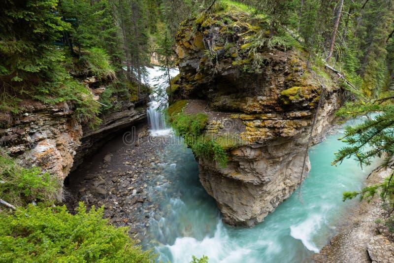 Johnston Canyon. And waterfalls, Alberta, Canada royalty free stock photo