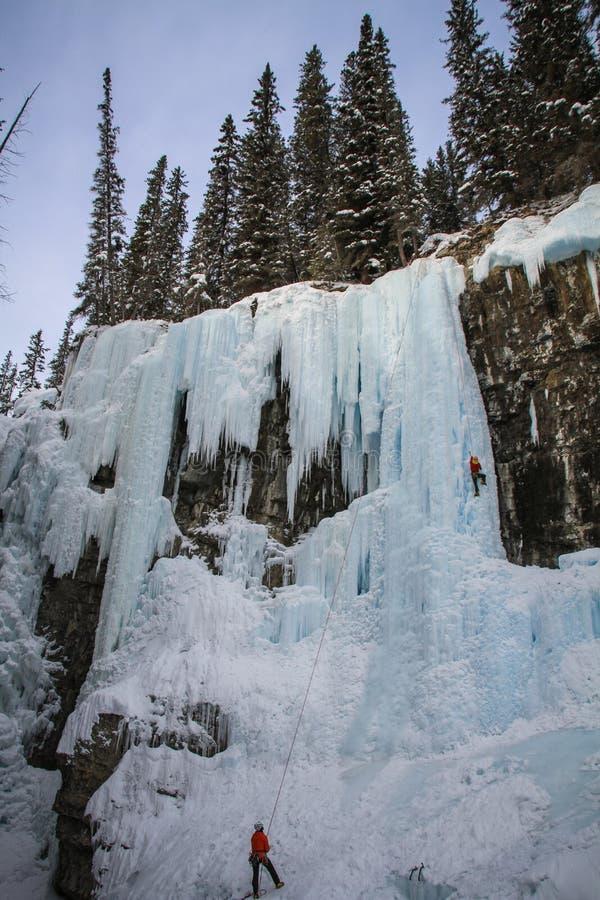 Johnston Canyons obere Fälle mit Eisbergsteigern, Bogenfluß, Alberta Kanada lizenzfreie stockfotos