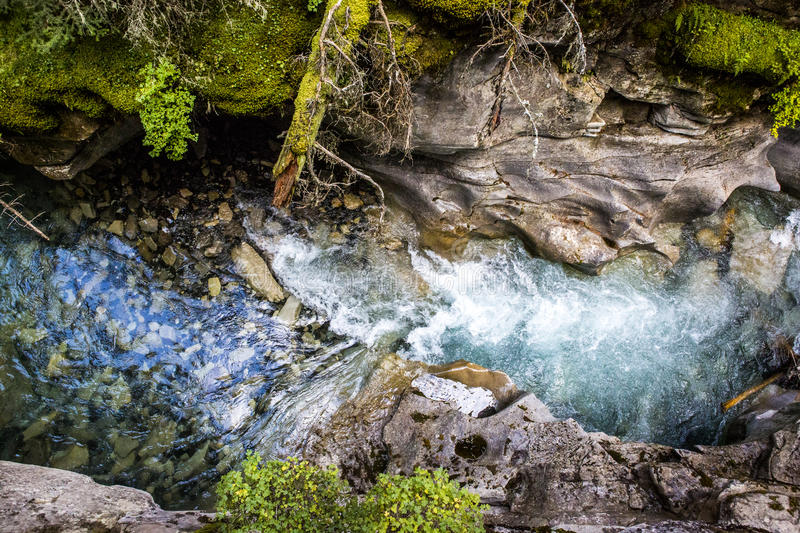 Johnston Creek, Banff National Park, Alberta. As Johnston Creek approaches the Bow River, it flows through a large canyon formed by erosion over thousands of royalty free stock images