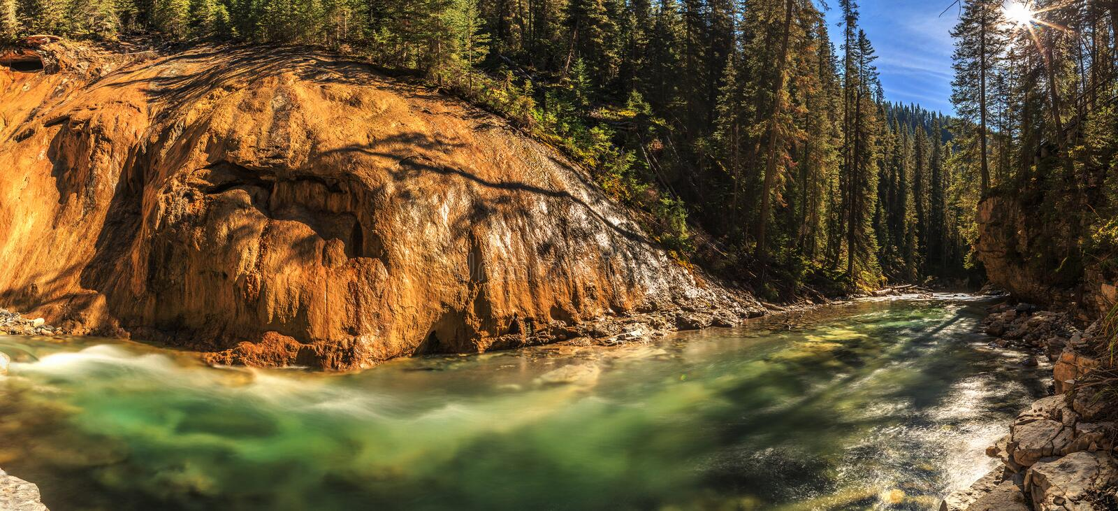 Johnston Creek. Is a tributary of the Bow River in Canada's Rocky Mountains. The creek is located in Banff National Park royalty free stock image