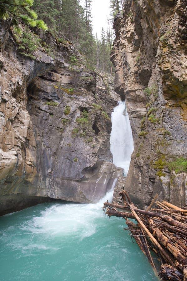 Johnston Lower falls, Alberta. Lower falls in Johnston Canyon, in Banff National Park, Alberta, Canada stock photography