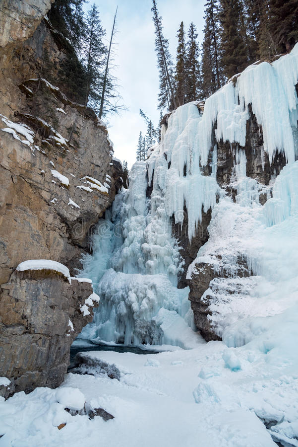 Johnston Waterfall. Path to Johnston Waterfall in Banff Park, Alberta, Canada royalty free stock images