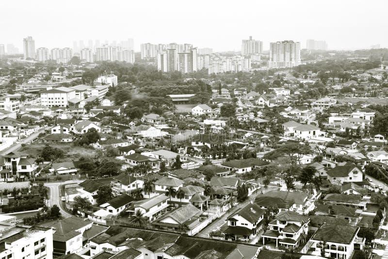 Johor Bahru, Malásia 18 DE NOVEMBRO DE 2018: Ideia aérea do tempo velho do dia da cidade de Johor Bahru foto de stock royalty free