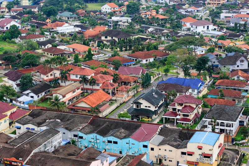Johor Bahru, Malasia 18 DE NOVIEMBRE DE 2018: Vista aérea del viejo tiempo del día de la ciudad de Johor Bahru imagen de archivo libre de regalías