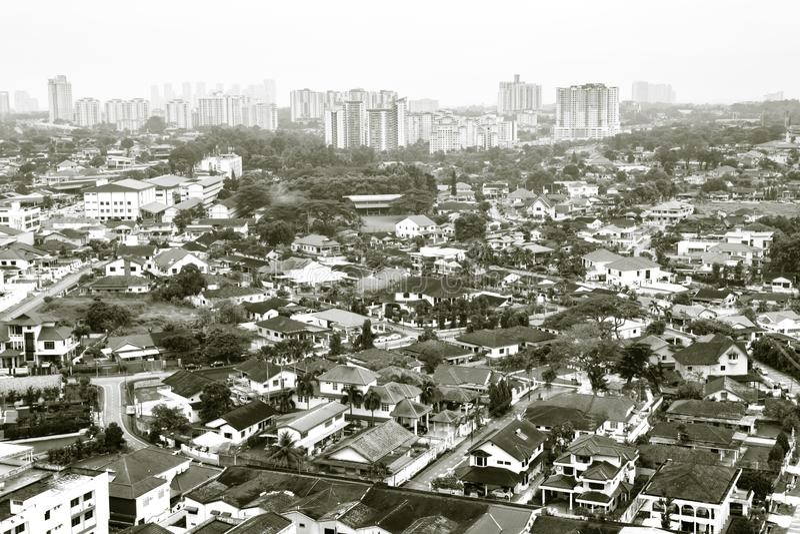 Johor Bahru,Malaysia-18 NOV 2018:Aerial view of Johor Bahru old city day time royalty free stock photo