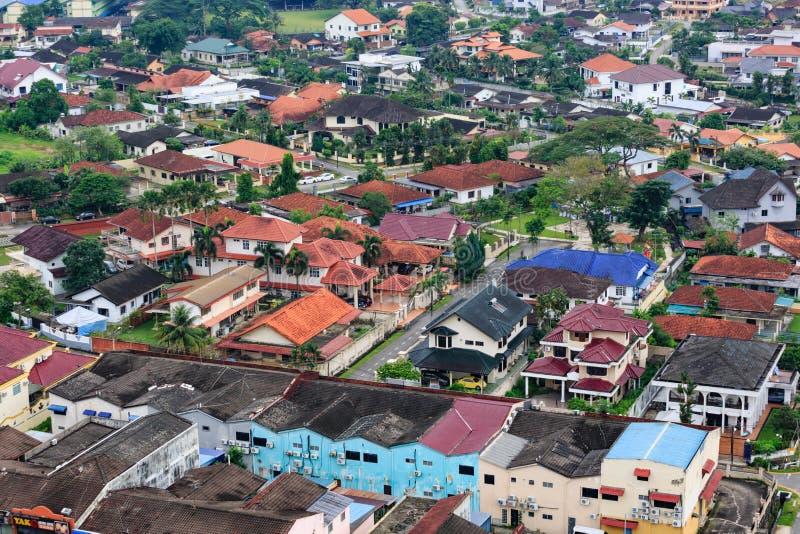 Johor Bahru,Malaysia-18 NOV 2018:Aerial view of Johor Bahru old city day time royalty free stock image