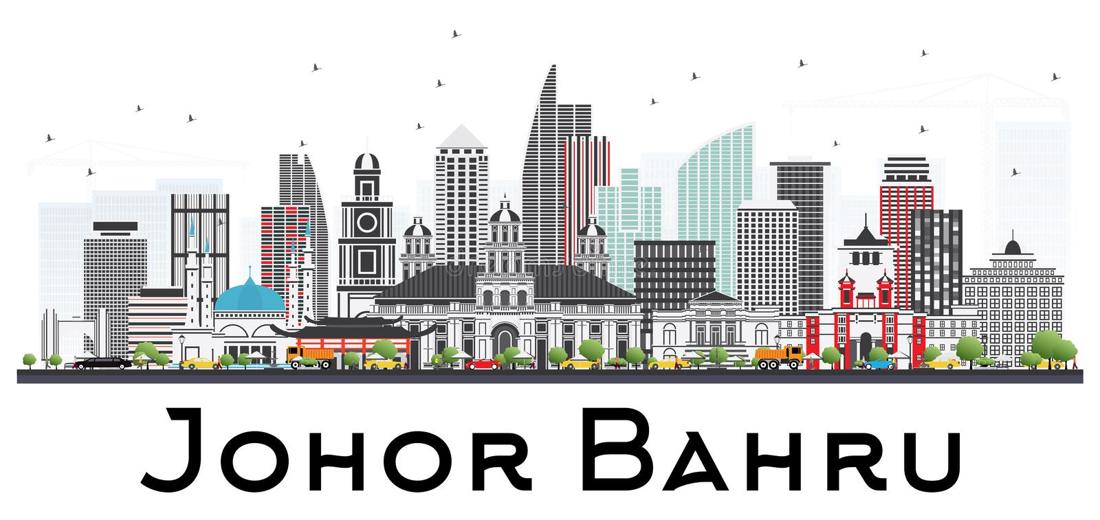 Johor Bahru Malaysia Skyline with Gray Buildings Isolated on White Background. Vector Illustration. Business Travel and Tourism Illustration with Modern royalty free illustration