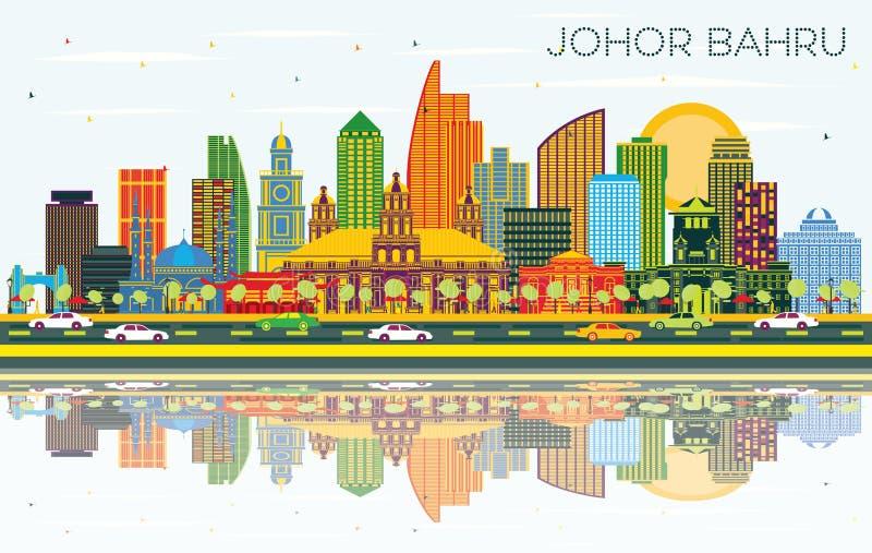 Johor Bahru Malaysia stadshorisont med färgbyggnader, blå himmel och reflexioner vektor illustrationer