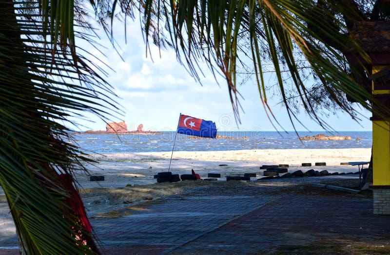 Johor flag waving in Mersing. stock images