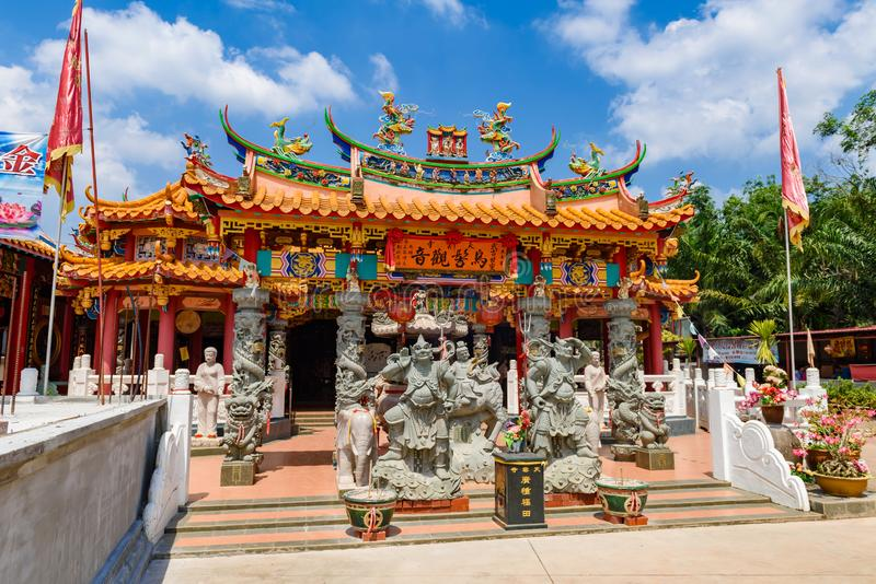 Asian Chinese temple, Muar, Malaysia. Johor, Malaysia - 03 July 2016: Front entrance view of Asian Chinese temple, Muar, Malaysia royalty free stock photo