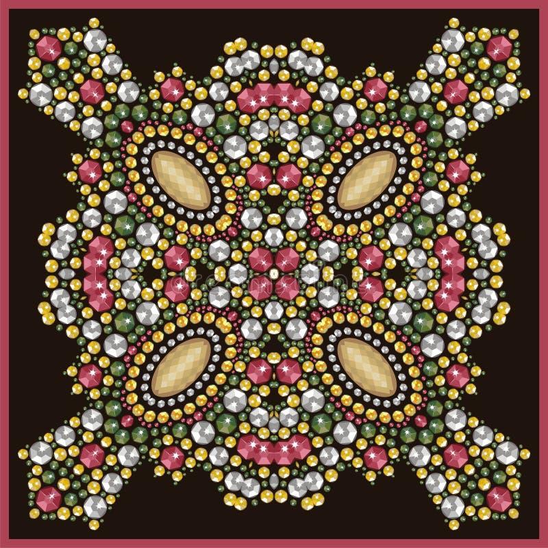 Joia bonita, medalhão, broche, decoração no pescoço, mandala, cristais de rocha do applique ilustração do vetor