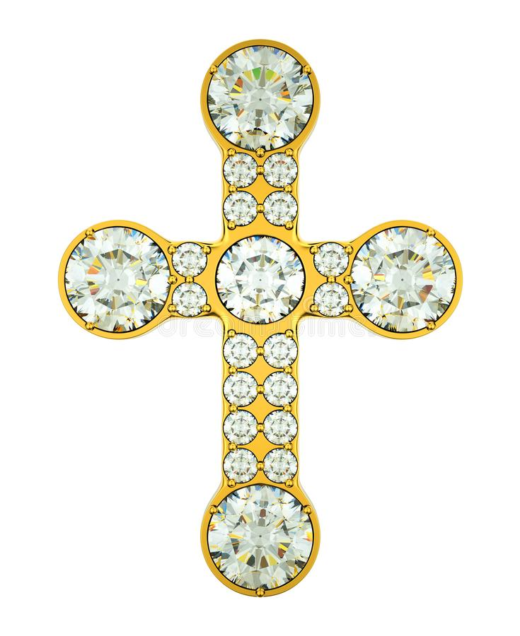 Joia: cruz dourada com os diamantes isolados ilustração royalty free