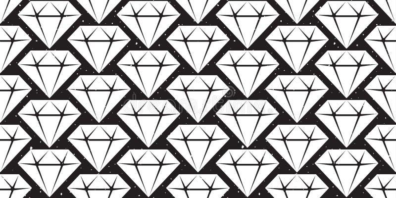A joia de cristal do teste padrão sem emenda da gema do diamante isolou o papel de parede de cristal do fundo do vetor ilustração stock
