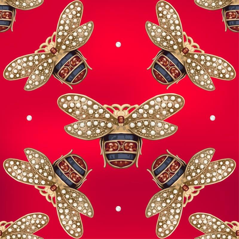 Joia de uma mosca em um fundo vermelho ilustração do vetor