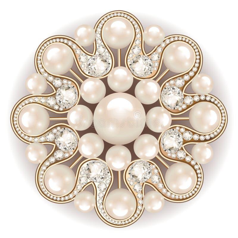 Joia do broche, elemento do projeto ornamenta do vintage da pérola ilustração stock