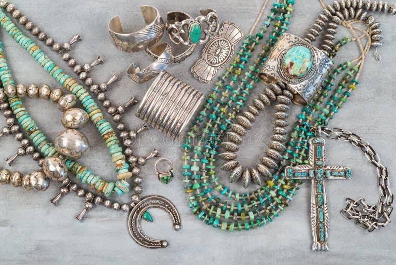 Joia do nativo americano da prata e da turquesa fotos de stock royalty free