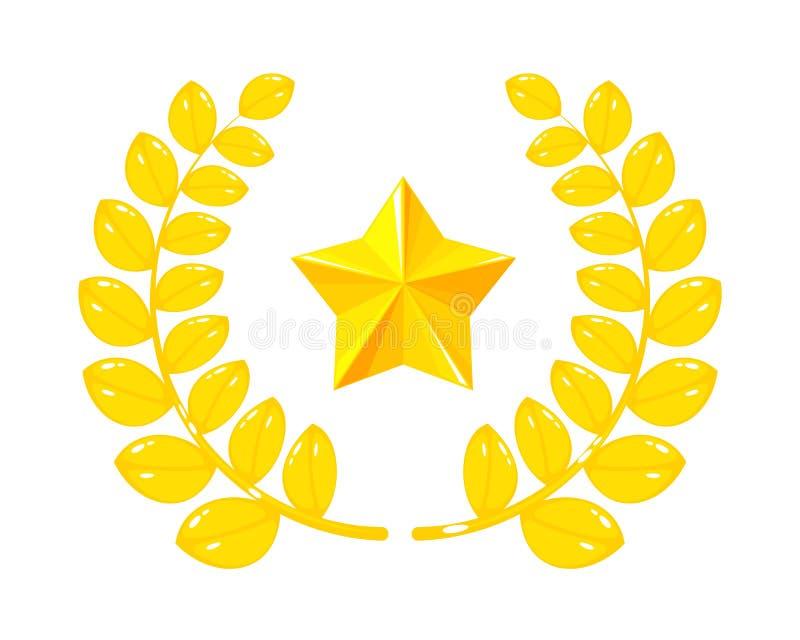 Joia do ouro, recompensa no formulário das folhas, troféu, estrela do ouro ilustração stock