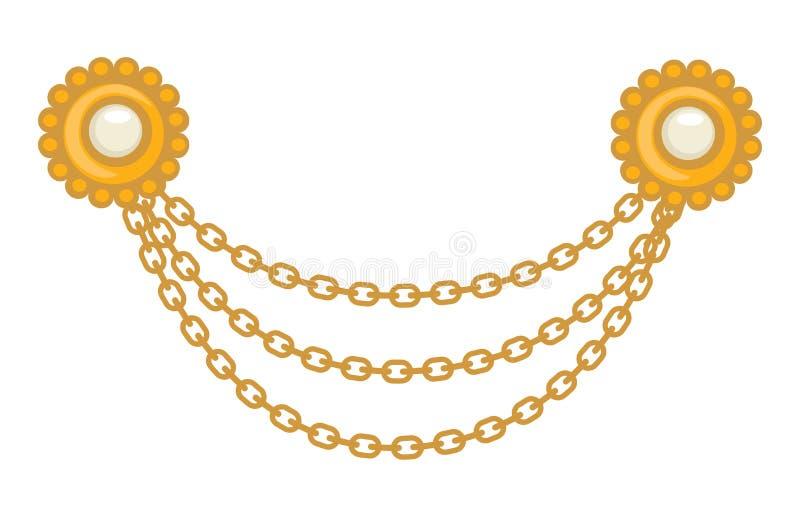 joia do ouro 40s, broche e correntes, acessório dos anos 40 ilustração royalty free