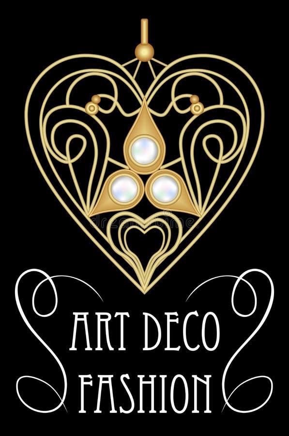 Joia filigrana do ouro na forma do coração com gemas, o rubi ou grandada vermelha Pendente bonito no estilo do victorian, forma d ilustração royalty free