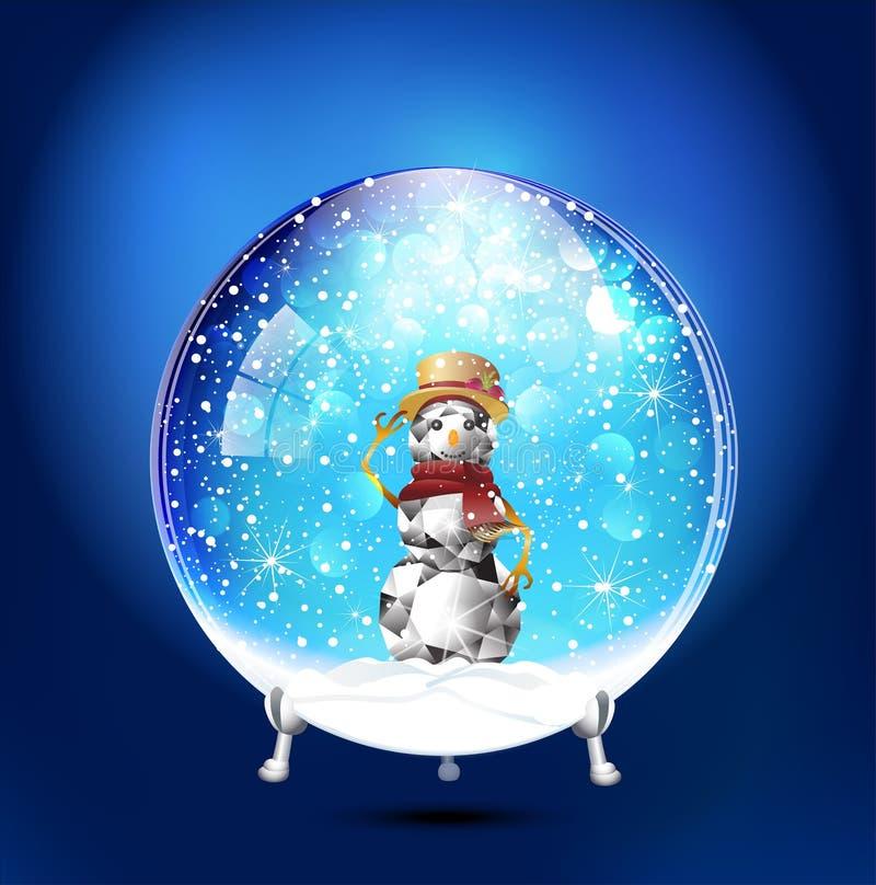 Joia gelado feliz do diamante do boneco de neve do globo da neve do Natal ilustração royalty free