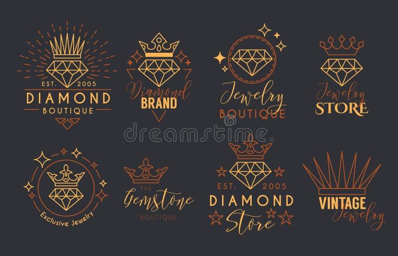 Joia Logo Set para o stor da joia ilustração royalty free