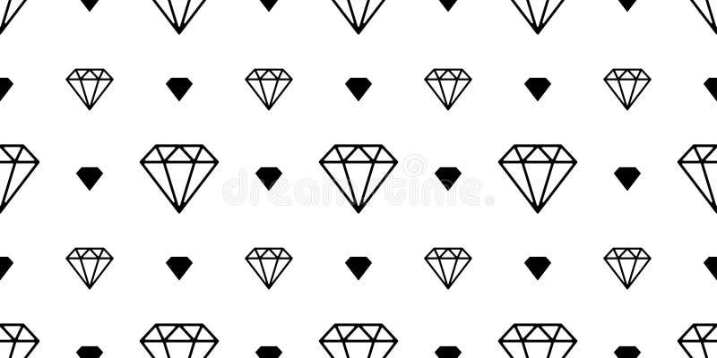 A joia sem emenda do vetor do teste padrão da gema do diamante isolou o branco do fundo do papel de parede da noite do espaço ilustração stock