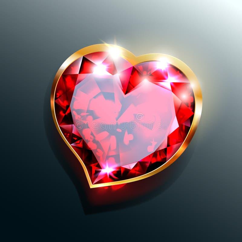 Joia vermelha do coração com quadro do ouro ilustração do vetor