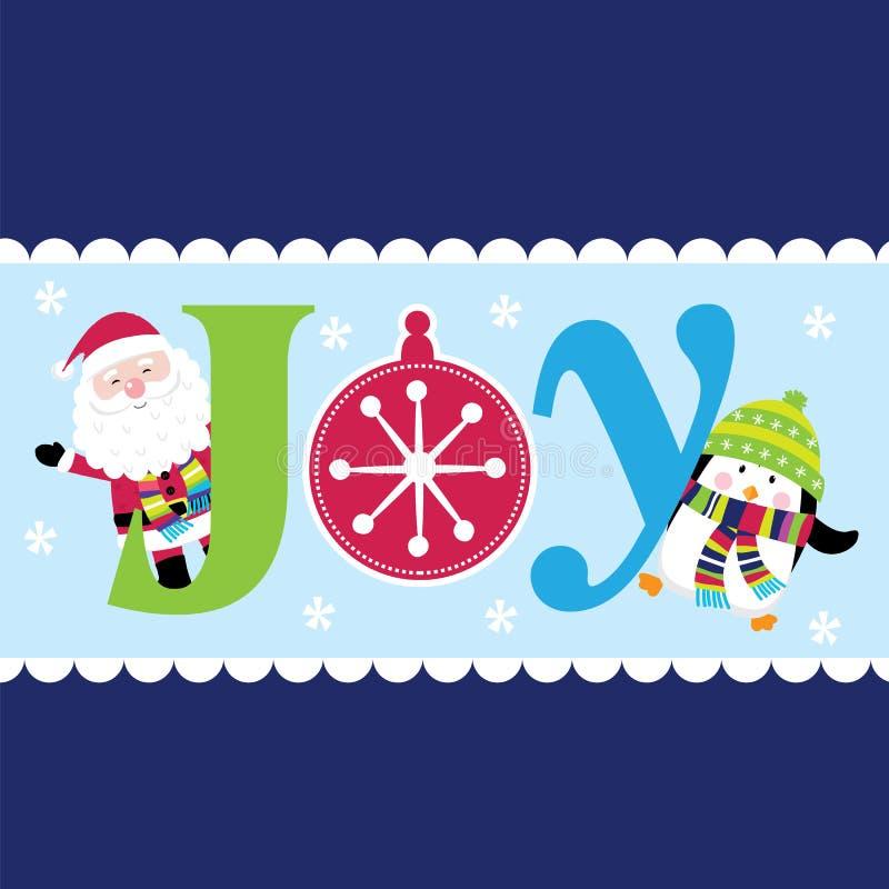 Joie de Noël avec Santa et pingouin mignon illustration libre de droits