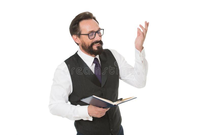 Joignez l'événement d'académie d'affaires d'élite Le blanc formel de bloc-notes de prise de vêtements d'homme expliquent le sujet photo stock