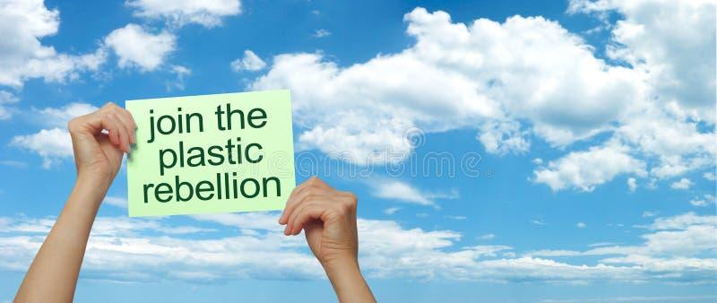 Joignez la rébellion en plastique contre les déchets potentiellement mortels images libres de droits