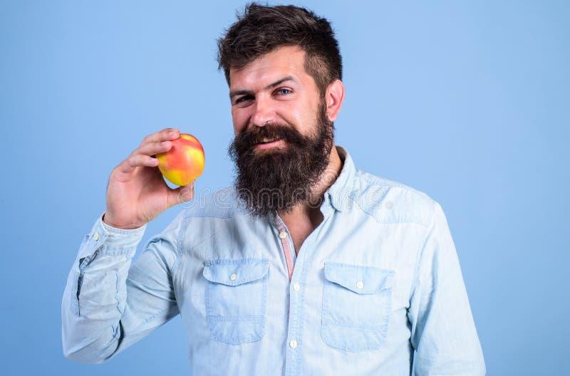 Joignez le mode de vie sain Homme avec la main de fruit de pomme de prise de hippie de barbe Faits de nutrition et prestations-ma photos libres de droits