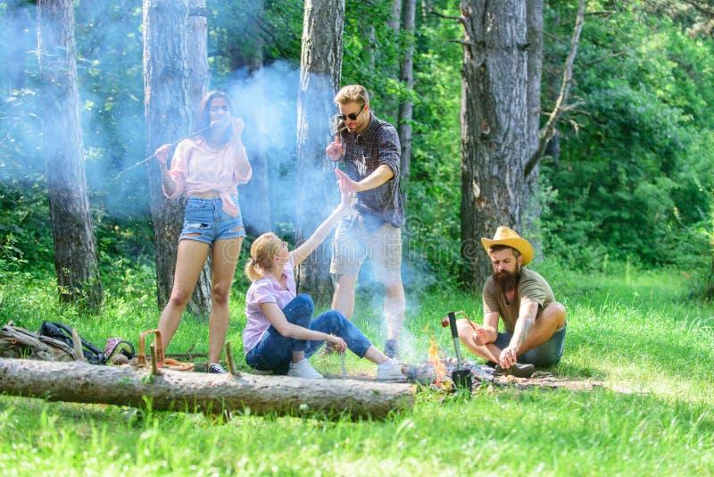 Joignez le pique-nique d'été Collecte pour le grand pique-nique Société ayant l'amusement tout en rôtissant des saucisses sur des images libres de droits