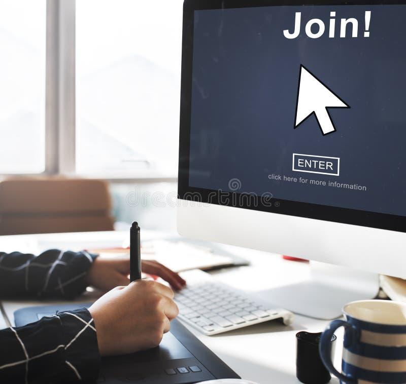 Joignez le s'inscrire écrivent le concept d'icône de flèche image libre de droits