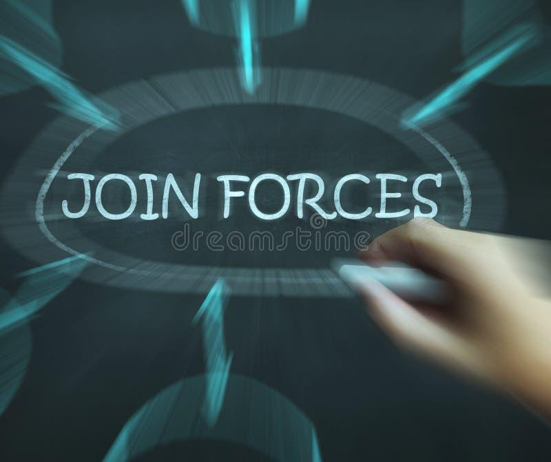 Joignez les forces que les moyens de diagramme fonctionnent ensemble et association illustration libre de droits