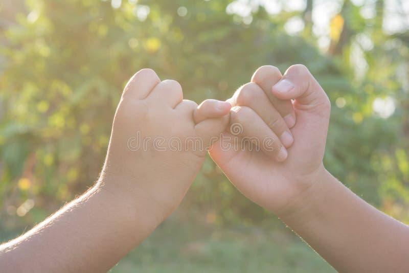 Joignez les mains folâtrant les enfants locaux en nature images stock