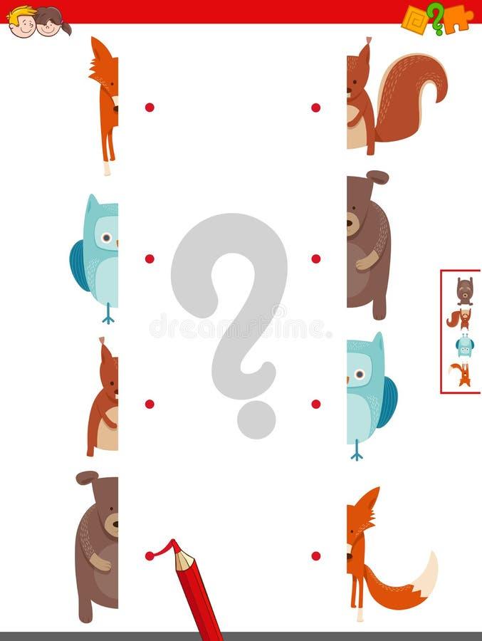 Joignez les moitiés du jeu d'activité de photos d'animaux illustration libre de droits