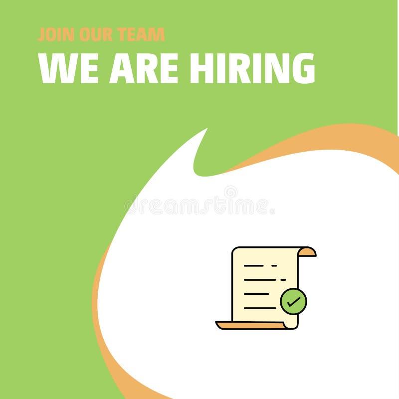 Joignez notre équipe Document texte de Busienss Company nous louons la conception de légende d'affiche Fond de vecteur illustration de vecteur