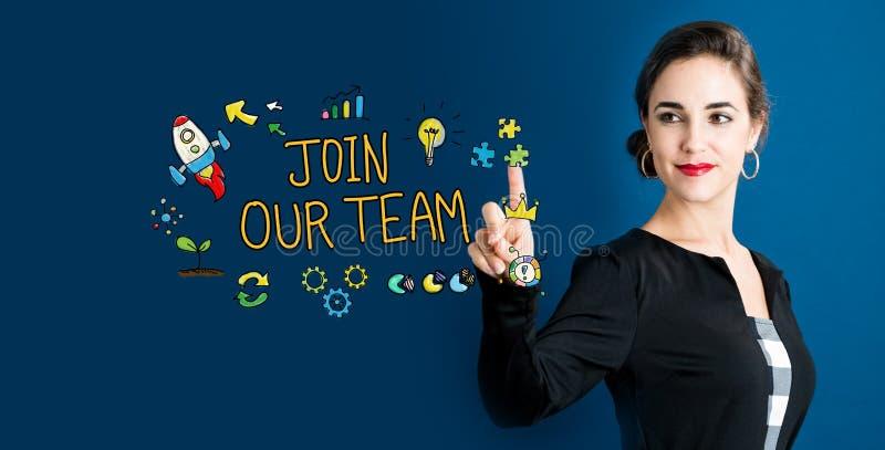 Joignez notre texte d'équipe avec la femme d'affaires images stock