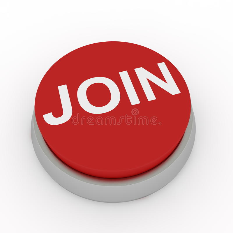 Join button. Red join button. Computer render royalty free illustration