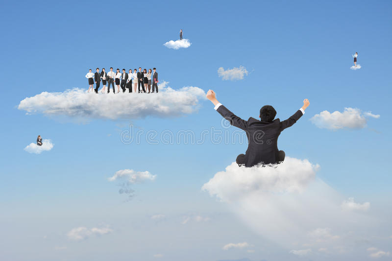 Join the cloud. Businessman sit on cloud and going to join the team in cloudy sky. Concept about cloud business, team work, or positivity stock photos
