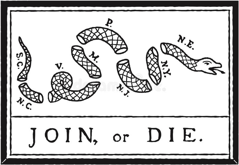 Join or Die Flag. The Join, or Die cartoon, by Benjamin Franklin. It was printed, and used in flags and banners to encourage the former colonies to unite against stock illustration