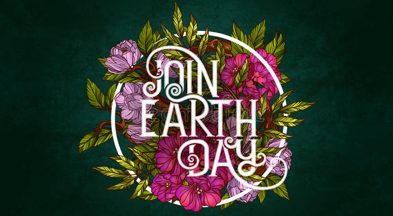 Join Earth Day. Poster template royalty free illustration