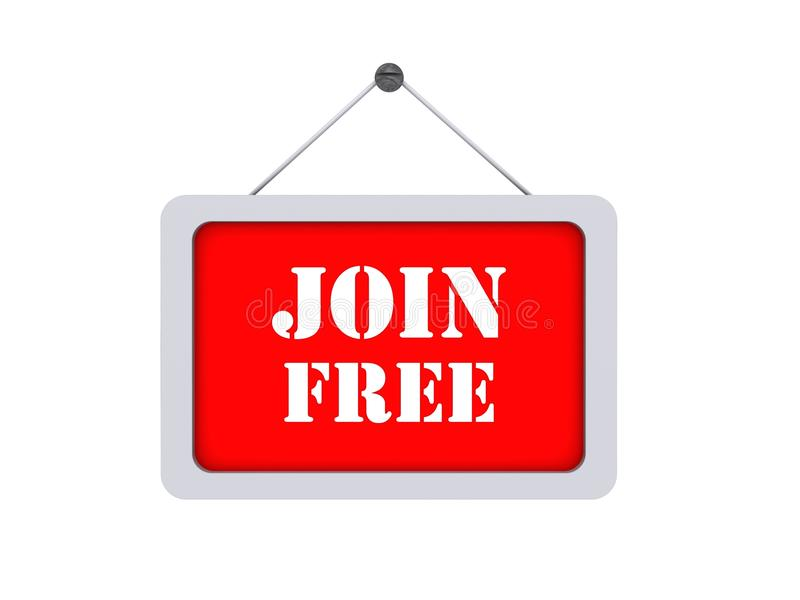 Join free. Graphic sign with white text join free hanging on tack with white background vector illustration