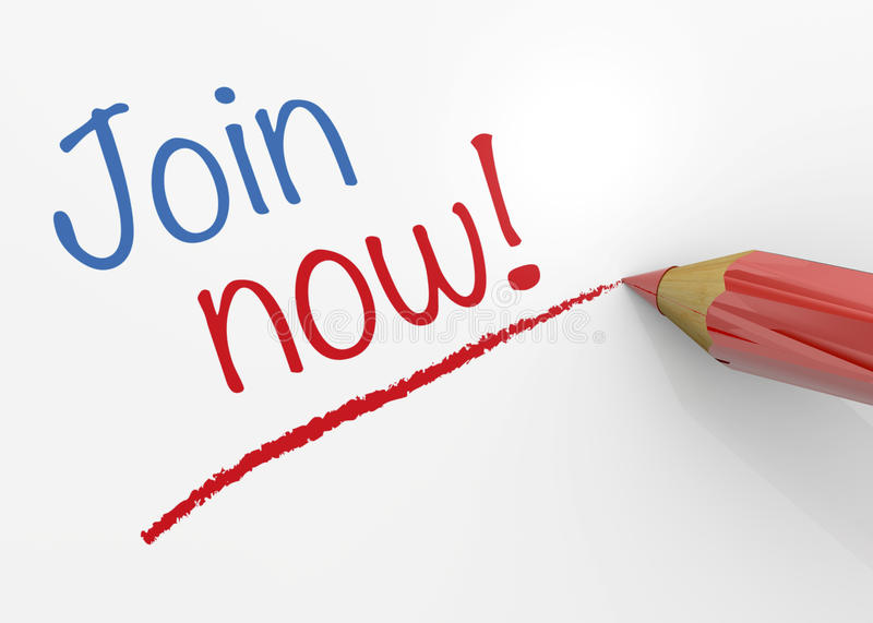 Join Now - 3D. Join now write and red pencil stock illustration