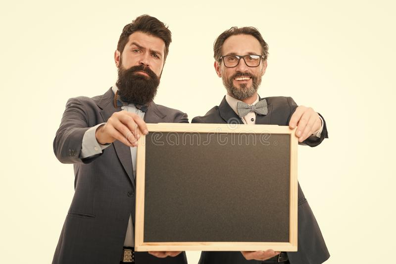 Join our business team. Business people concept. Men bearded guys wear formal suits. Well groomed business man hold stock image