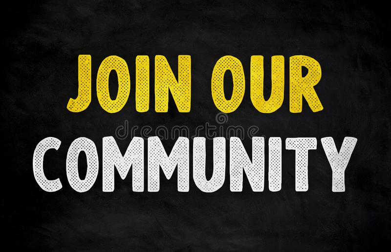 Join our community - chalkboard concept stock illustration