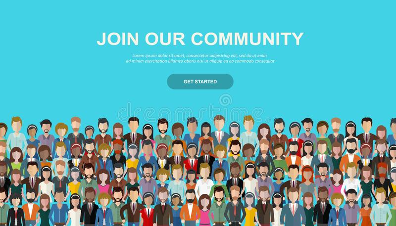 Join our community. Crowd of united people as a business or creative community standing together. Flat concept vector illustration