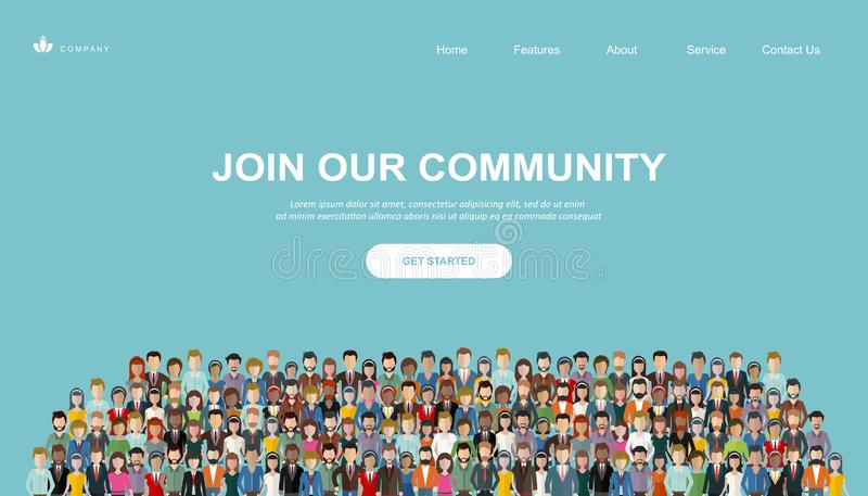 Join our community. Crowd of united people as a business or creative community standing together. Flat concept vector. Website template and landing page design royalty free illustration