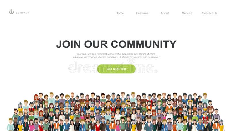 Join our community. Crowd of united people as a business or creative community standing together. Flat concept vector stock illustration