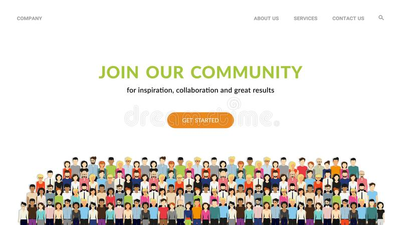 Join our community. Crowd of united people as a business or creative community standing together. Join our community. Flat concept vector website template and vector illustration